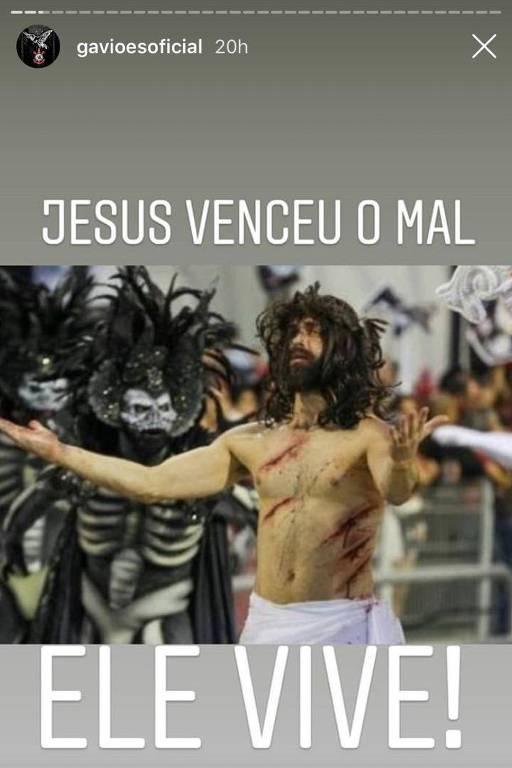 Rede social da escola Gaviões diz que Jesus venceu o embate no Anhembi
