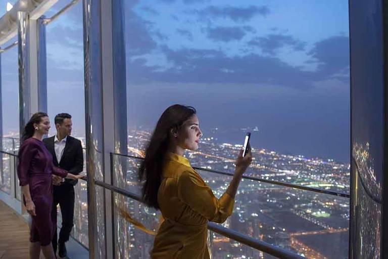 Vista do The Lounge, em Dubai, que fica a 545 metros do solo