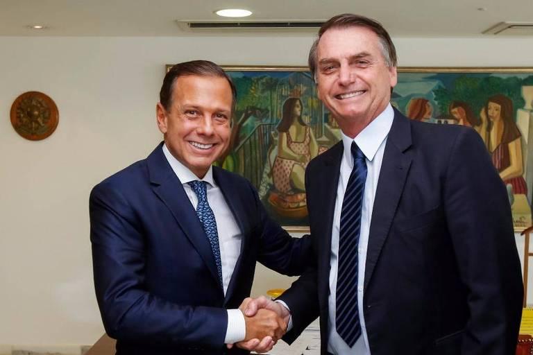 O governador de São Paulo, João Doria (PSDB), e o presidente Jair Bolsonaro (PSL) durante encontro em Brasília