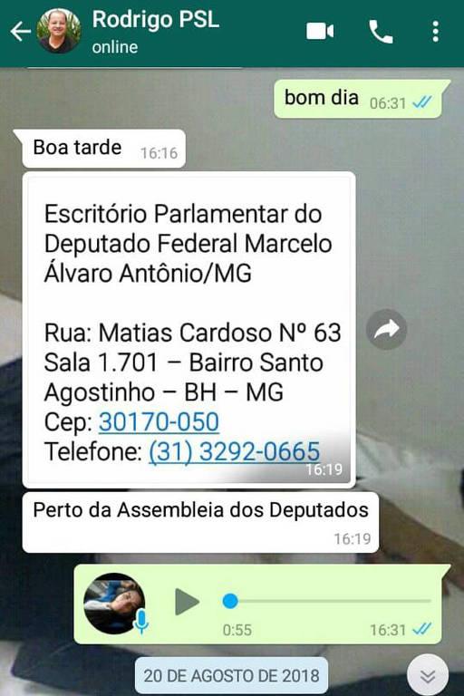Mensagem de um dirigente do PSL de Minas informando à candidata o endereço do escritório parlamentar de Marcelo Álvaro em Belo Horizonte