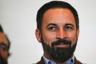 FILE PHOTO: Spain's far-right VOX  party leader Santiago Abascal smiles during a news conference following the Andalusian regional elections n Seville