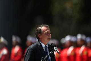 Brazil's President Jair Bolsonaro attends a ceremony in celebration of 211th anniversary of Brazilian Marine Corps in Rio de Janeiro
