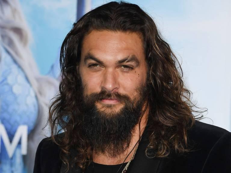 "O ator Jason Momoa na premiere de ""Aquaman"""