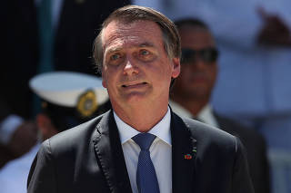 Brazil's President Jair Bolsonaro attends a ceremony in celebration of 211th anniversary of Brazilian Marine Corps in Rio de Janeiro