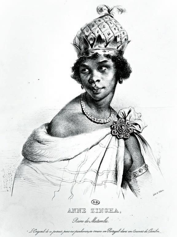 Ilustração da personagem e monarca Jinga de Angola