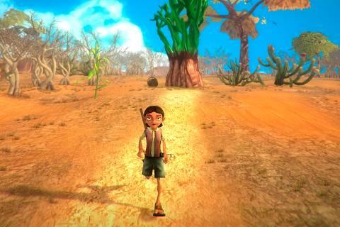 Cena do jogo brasileiro 'Árida' retrata sertão nordestino, que será lançado em abril