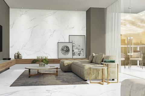Expo Revestir 2019 - Porcelanato que imita mármore da linha Pietra Portinari Prime