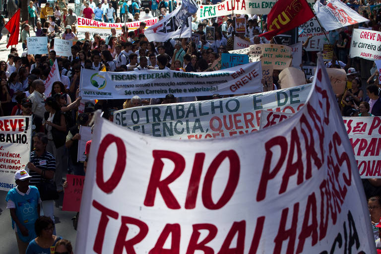 Servidores em ato no Rio de Janeiro