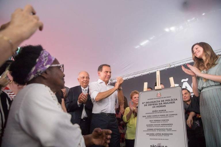 O governador João Doria na inauguração de Delegacia da Mulher em Santo Amaro, zona sul de São Paulo