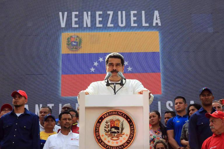 O ditador Nicolás Maduro, durante discurso neste sábado (9) em Caracas