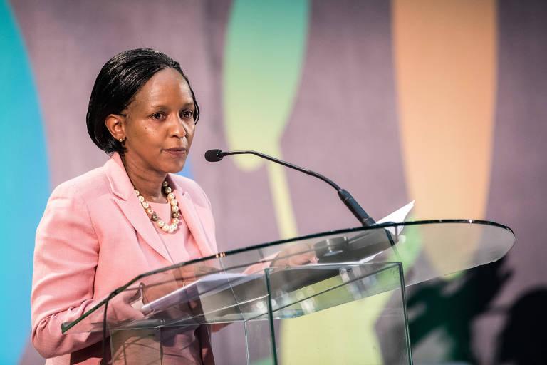 Joyce Msuya,  diretora-executiva do Programa das Nações Unidas para o Meio Ambiente (Pnuma), participa da cerimônia de abertura da conferência em Nairóbi
