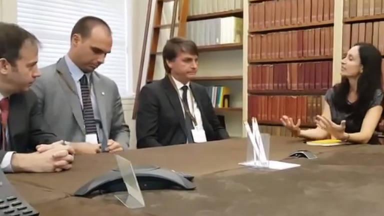 Gerald Brant, Eduardo Bolsonaro, Jair Bolsonaro e Shannon O'Neil, em Nova York, em 2017