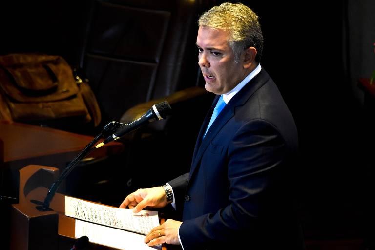 O presidente colombiano, Iván Duque, durante audiência da Suprema Corte, em Bogotá