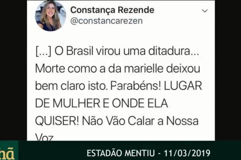 Allan dos Santos, do canal Terça Livre, exibe tuíte falso de jornalista