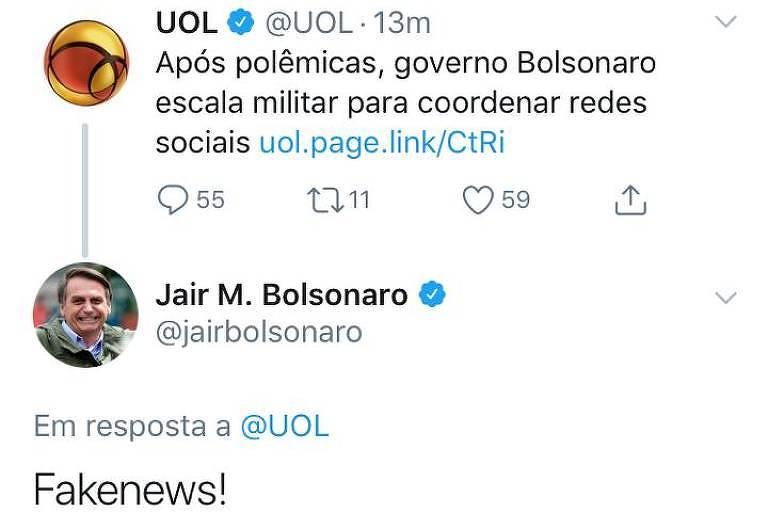 Em conta oficial no Twitter, presidente Jair Bolsonaro classifica como fake news reportagem da Folha republicada pelo UOL