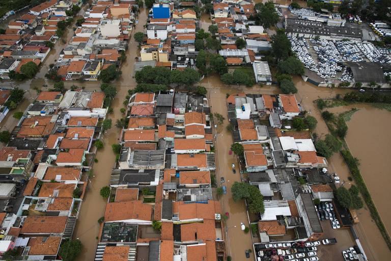 Alagamento em São Bernardo do Campo, na Grande SP