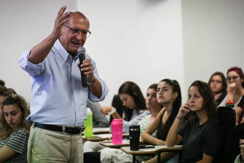 SAO PAULO/ SP, BRASIL, 22-02-2019: O ex-governador Geraldo Alckmin dá aula magna no curso de medicina da Uninove em Osasco.(Foto: Zanone Fraissat/Folhapress, COTIDIANO)***EXCLUSIVO****
