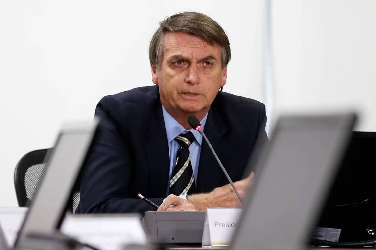 O presidente Jair Bolsonaro durante videoconferência
