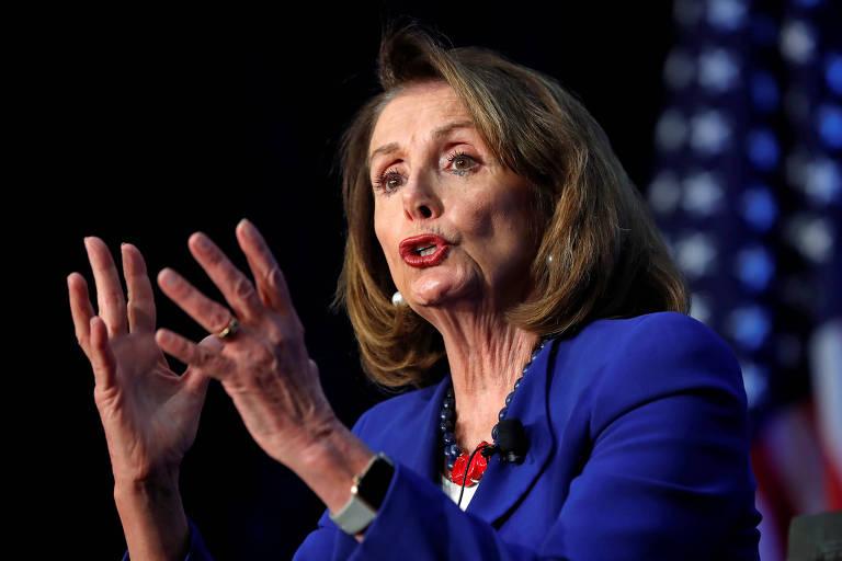 A presidente da Câmara dos EUA, Nancy Pelosi, durante evento em Washington
