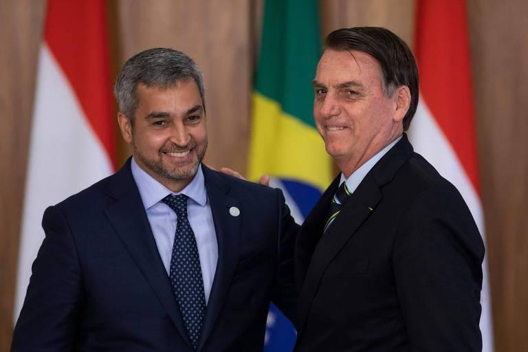 Mario Abdo Benítez, presidente do Paraguai, se encontra em Brasília com o presidente brasileiro, Jair Bolsonaro, em março