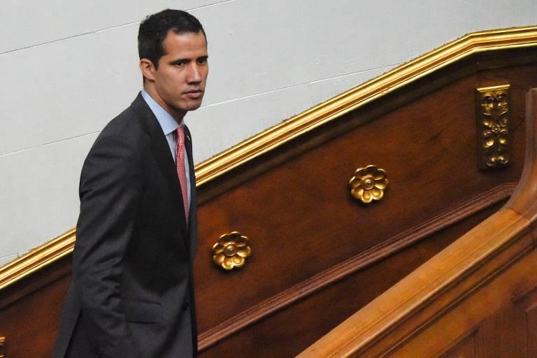 O líder opositor Juan Guaidó na Assembleia Nacional, em Caracas