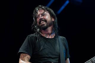 Banda norte-americana Foo Fighters durante show no Estádio Beira Rio em Porto Alegre