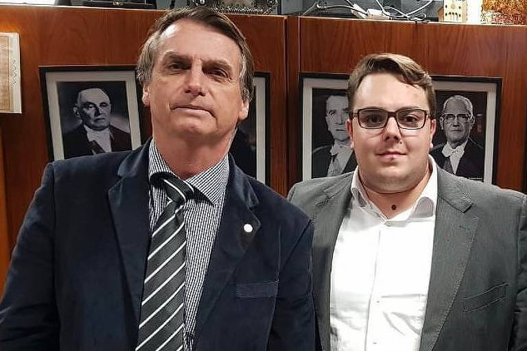 Jair Bolsonaro com o deputado Felipe Francischini (PSL)