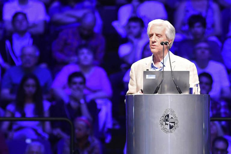 O presidente do Uruguai, Tabaré Vázquez, durante evento em Montevidéu