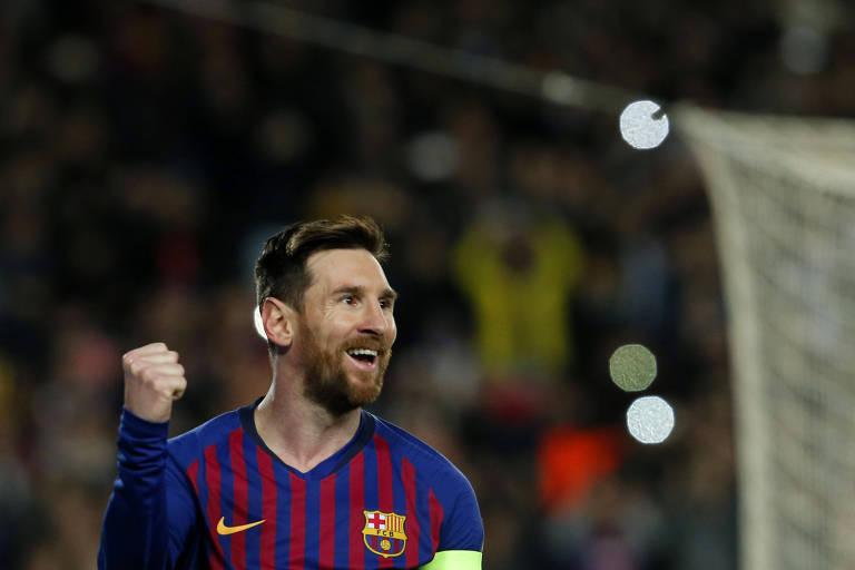 Messi comemora gol contra o Lyon pela Champions League