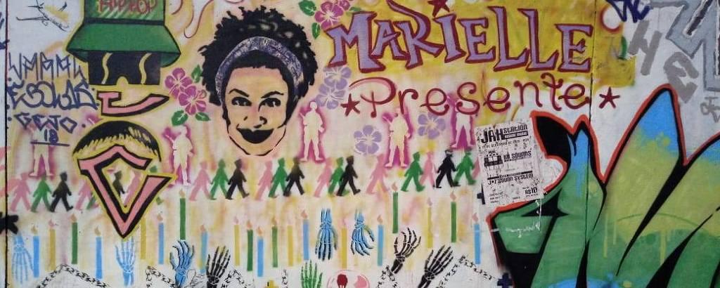 Imagem de grafites em Pinheiros fazem menção ao assassinato de Marielle Franco