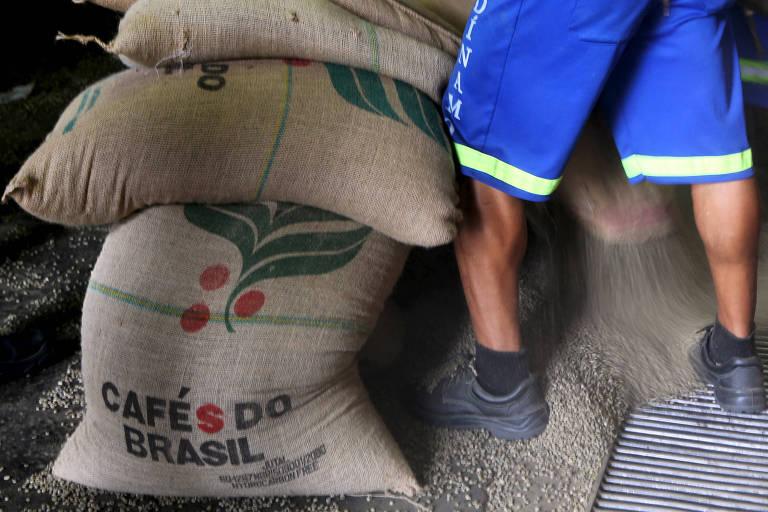 Café para exportação em armazém em Santos
