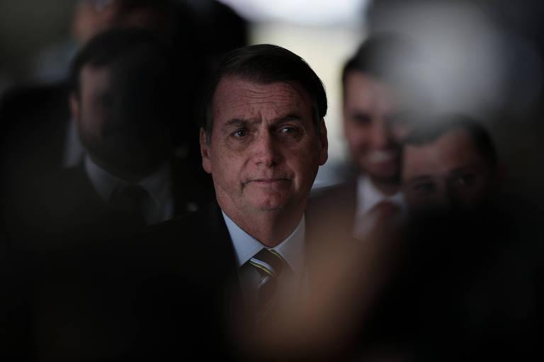 O presidente Jair Bolsonaro após reunião com o presidente do Paraguai, Mario Abdo Benítez, em Brasília