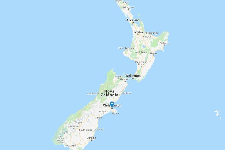 Mapa mostra a localização de Christchurch, Nova Zelândia