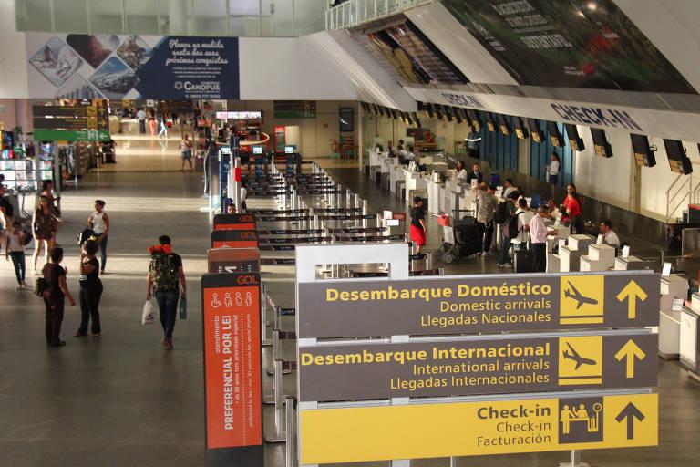 Saguão do aeroporto Internacional Marechal Rondon, em Várzea Grande, região metropolitana de Cuiabá (MT)