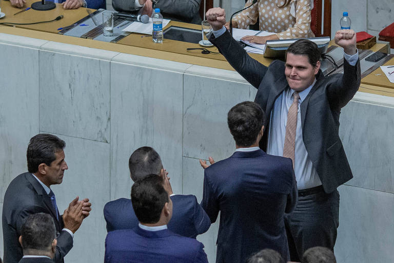 O deputado Cauê Macris (PSDB), após ser eleito presidente da Alesp