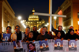 People gather in Castel Sant'Angelo during Global Twilight Vigil for Justice, organised by ECA (Ending Clergy Abuse), in Rome