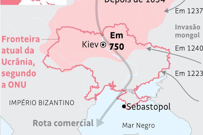Origem A Crimeia sediava colônias gregas. Em 988, o príncipe Vladimir converteu-se ao cristianismo onde hoje fica Sebastopol. Ele liderava o Rus de Kiev, primeira terra dos rus, povo nórdico que deu origem a russos e a ucranianos. No século 13, mongóis da Horda de Ouro dominaram a costa do mar Negro, estabelecendo o canato da Crimeia –lar dos tártaros muçulmanos. Com o tempo, tornaram-se vassalos do Império Otomano