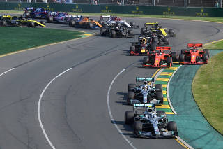 Mercedes' Valtteri Bottas leads the field through turn two during the the Formula One F1 Australian Grand Prix at the Albert Park Grand Prix Circuit in Melbourne