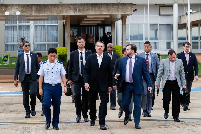 O Jair Bolsonaro em Brasília, antes de viajar para Washington