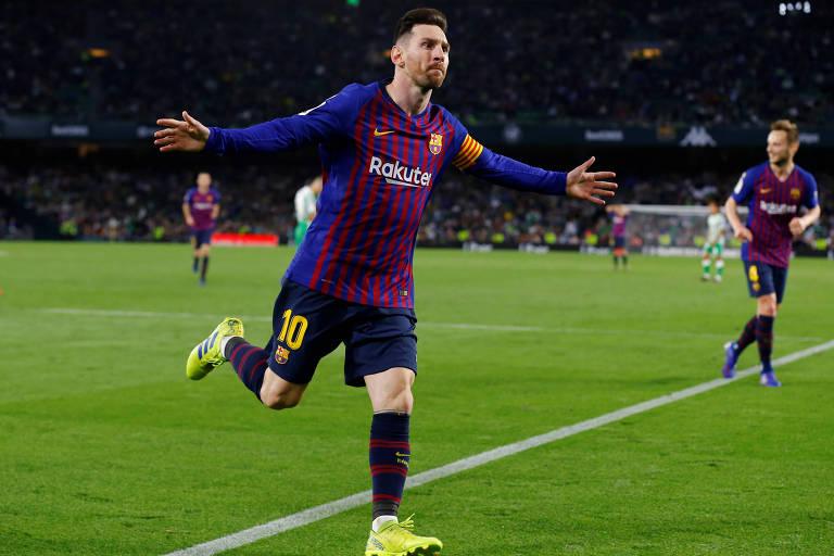 Messi comemora gol contra o Betis, em Sevilha