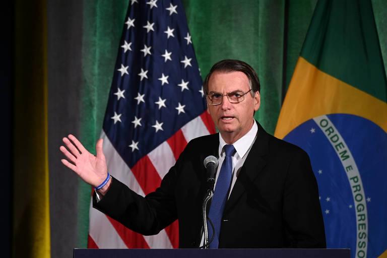 O presidente Jair Bolsonaro discursa durante evento na Câmara de Comércio Brasil-EUA