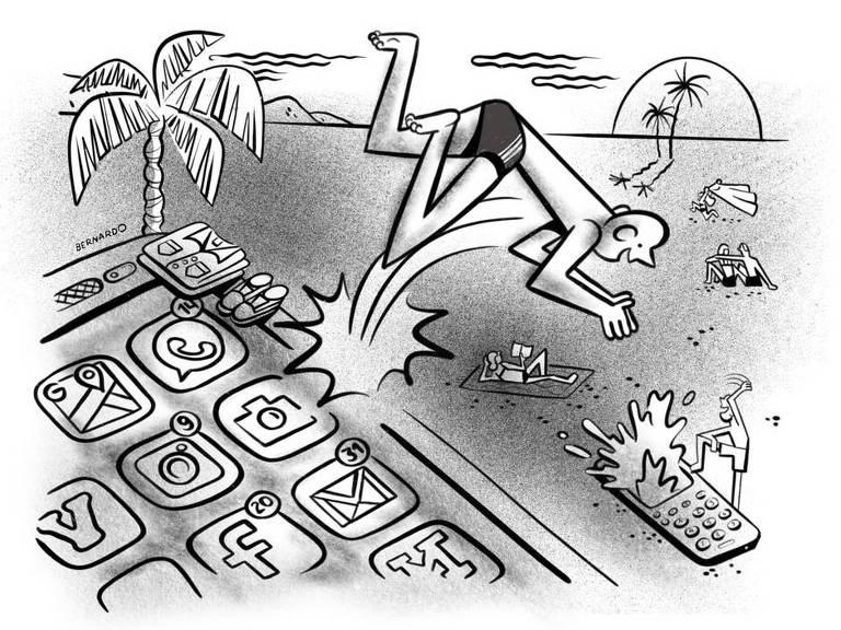 Ilustração de homem mergulhando na tela de um celular