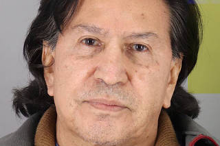 Peru's former president Alejandro Toledo Manrique poses in a police booking photo at San Mateo County jail