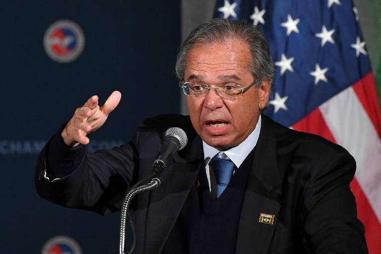 O ministro da Economia, Paulo Guedes, participou na segunda-feira (18) de evento em Washington
