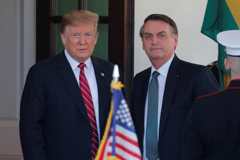 U.S. President Donald Trump welcomes Brazilian President Jair Bolsonaro to the White House in Washington, U.S., March 19, 2019. REUTERS/Carlos Barria ORG XMIT: WAS402