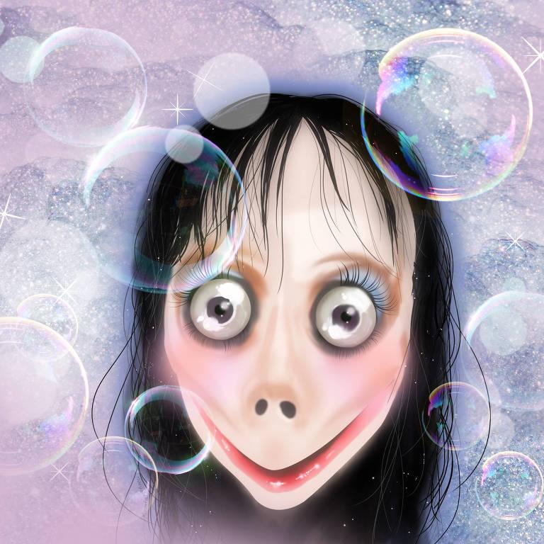 """ilustração da personagem """"momo"""", que tem olhos esbugalhados, cabelo preto longo, ralo e liso, nariz alongado e uma boca com sorriso sem lábios nem dentes"""