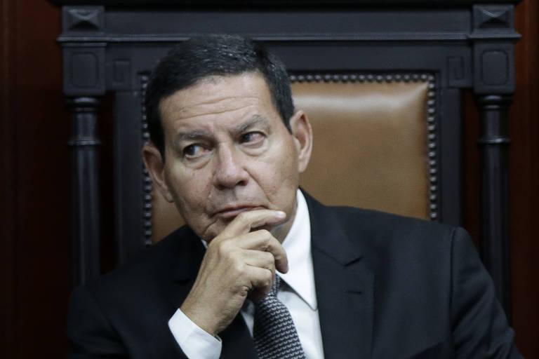 O vice-presidente Hamilton Mourão participa da solenidade de posse em Brasília