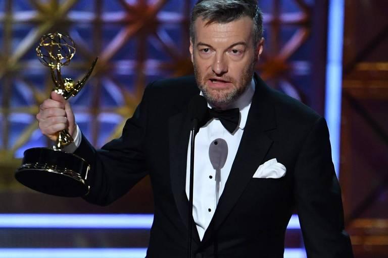 Charlie Brooker, criador de 'Bladk Mirror', durante o Emmy, em 2017