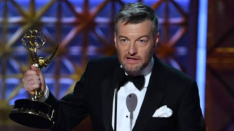 Charlie Brooker accepts the award for Outstanding Writing for a Limited Series or Movie for