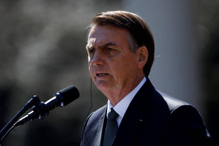 Presidente da República, Jair Bolsonaro, durante conferência na Casa Branca